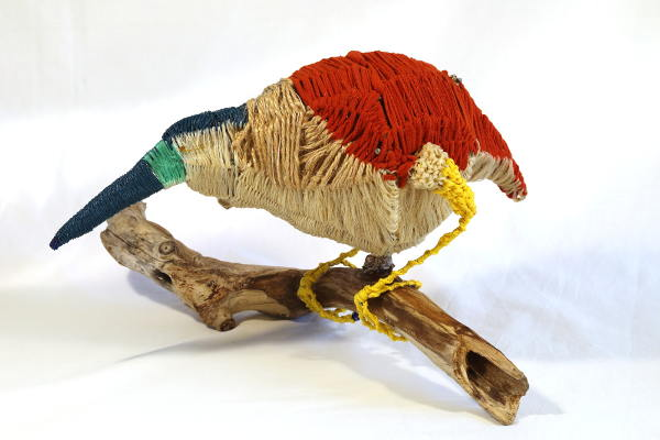 ghost net and mixed media Rufous Night Heron sculpture