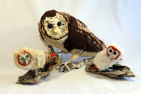 ghost net and mixed media Tiwi Masked Owl sculptures