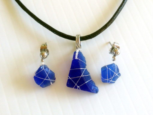 Ghost net and sea glass jewellery